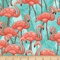 Timeless Treasures Miami Tropic Flamingos Turq