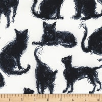 Timeless Treasures Scribble Cats Milk