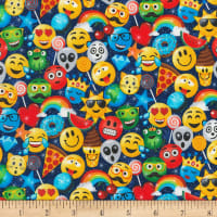 Timeless Treasures Sweets And Smiles Emojis Navy