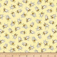 Timeless Treasures Little Star Bunny Bees Yellow