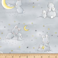 Timeless Treasures Little Star Flannel Bunnies And Little Ones With Moons Grey