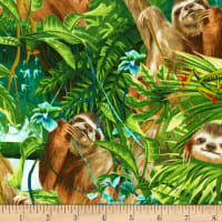 Timeless Treasures Sloths Green