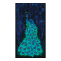 "Timeless Treasures Metallic Moonlight Plume 24"" Peacock Panel Midnight"