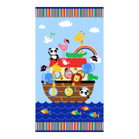 """Timeless Treasures Two By Two 24"""" Animal Ark Panel Sea"""