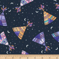 Timeless Treasures Llamas And Teepees Tossed Teepees Navy