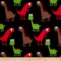 Double Brushed Poly Spandex Jersey Knit Dinosawrs on Black