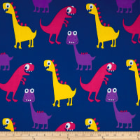 Double Brushed Spandex Jersey Knit Dinosawrs on Cobalt