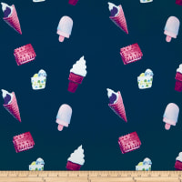 Double Brushed Spandex Jersey Knit Ice Cream on Indigo