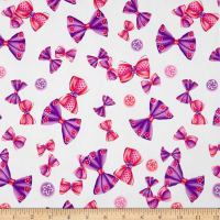 Double Brushed Spandex Jersey Knit Tossed Bows Pink/Purple