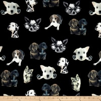 Double Brushed Poly Spandex Jersey Knit Puppies on Black
