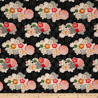 Double Brushed Spandex Jersey Knit Retro Floral Garden on Black