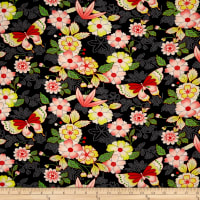 Double Brushed Spandex Jersey Knit Retro Butterflies on Floral Black/Coral