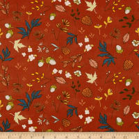 Art Gallery Autumn Vibes Acorns & Pinecones Pecan Orange