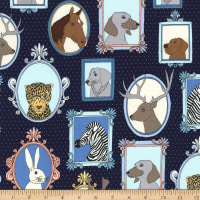 Michael Miller Little Animal Portraits Little Animal Portraits Navy