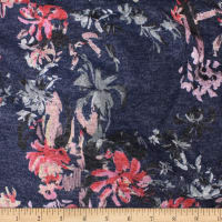 Telio Knit Knack Brushed Sweater Knit Print Floral Navy