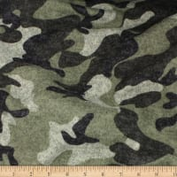 Telio Knit Knack Brushed Sweater Knit Print Camouflage Olive
