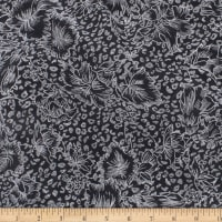 Telio Shadow Flowers Jacquard Knit Print Metallic Black Silver