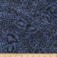 Telio Shadow Flowers Jacquard Knit Print Metallic Black Blue