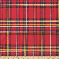 Telio Brazil ITY Poly Spandex Knit Print Plaid Cherry