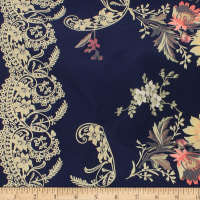 Telio Robin Polyester Faile Double Border Print Midnight Blue