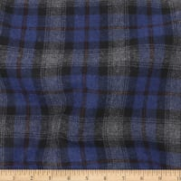 Telio Wool Mix Plaid Suiting Plaid Blue Grey