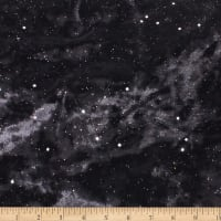 Telio Galaxy Stretch Velvet Knit Metallic Stars Silver Black