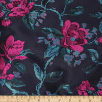 Telio Bowie Polyester Jacquard Floral Navy Teal