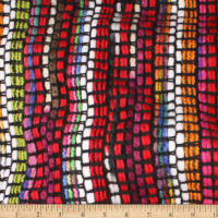 Telio Kaleidoscope Poly Acrylic Tweed  Stripe Red Black Multi
