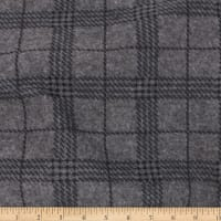 Telio Brushed Ponte Knit Coating Print Plaid Grey Citrus