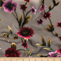 Telio Rayon Velvet Burnout Print Rose Black Burgundy
