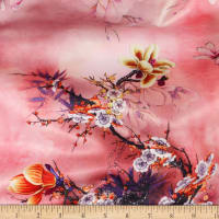 Telio Kimono Stretch Satin Magnolia Branch Blush