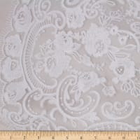 Telio Therese Nylon Rayon Mesh Embroidey Sequin Floral White