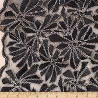 Telio Alexa Embroidery Two Tone Corded Embroidery Lace Floral Black