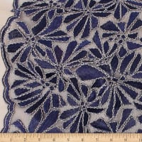 Telio Alexa Embroidery Two Tone Corded Embroidery Lace Floral Navy