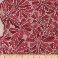 Telio Alexa Embroidery Two Tone Corded Embroidery Lace Floral Red