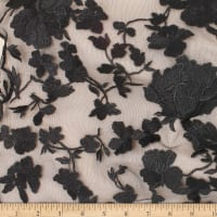 Telio Abigail Mesh Embroidery Lace Floral Black