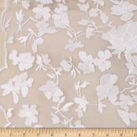 Telio Abigail Mesh Embroidery Lace Floral Off White