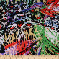 Telio Dakota Stretch Rayon Jersey Knit Print Floral Animal Multi