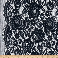Telio Flora Corded Cotton Nylon Lace Floral Navy