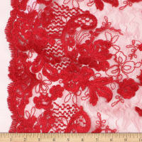 Telio New Trillium Corded  Lace Floral Red