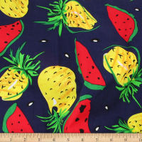Telio Playtime Cotton Poplin Pineapple Watermelon Navy