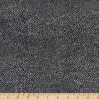 Telio Portland Herringbone French Terry Fleece Knit Black