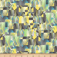 Henry Glass Black, White & Citrus Chevron Patch White/Teal
