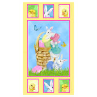 "Henry Glass Easter Parade 24"" Bunny Panel Multi"