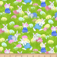 Henry Glass Easter Parade Bunnies & Eggs Green