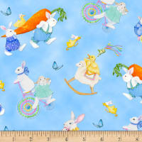 Henry Glass Easter Parade Bunnies & Chicks Allover Blue