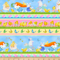 Henry Glass Easter Parade Bunnies & Chicks Border Stripe Multi