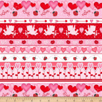 Henry Glass Love Struck Valentine Border Stripe Red/Pink