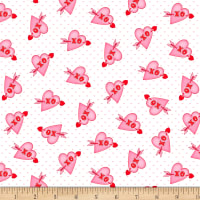 Henry Glass Love Struck Valentine Hearts XO White/Pink