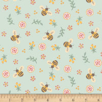 Henry Glass Flannel Bumble Garden Bumble Bees Aqua